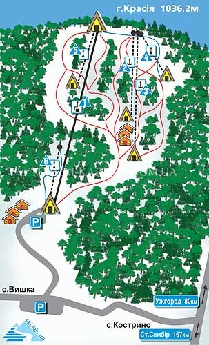 Схема гірськолижних трас Красія